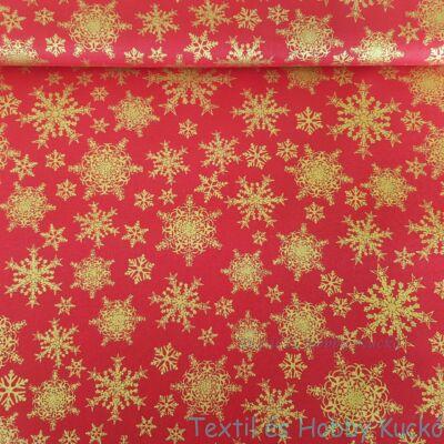karácsonyi pamutvászon piros alapon arany hópihék