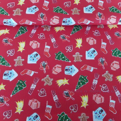 Karácsonyi pamutvászon piros alapon szaloncukrok, mézeskalácsok